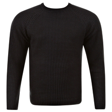 Thug or Angel Men's Jet Black collection  black crew neck knitted jumper. JBLK3913