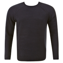 Thug or Angel Sweater Men's Jet Black collection dark navy crew neck knitted jumper. JBLK3914