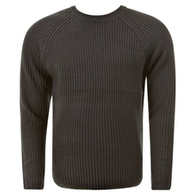 Thug or Angel Men's Jet Black collection charcoal crew neck knitted jumper. JBLK3918