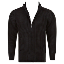 Thug or Angel Sweater Men's Jet Black collection black full zip ribbed knit cardigan. JBLK3924