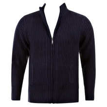Thug or Angel Sweater Men's Jet Black collection navy full zip ribbed knit cardigan. JBLK3929