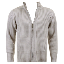 Thug or Angel Sweater Men's Jet Black collection grey full zip ribbed knit cardigan. JBLK3934
