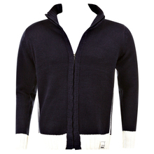 Thug or Angel Sweater Men's Jet Black collection knitted navy/ecru trim zip-up cardigan. JBLK3962