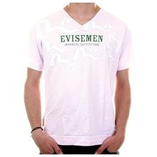 Evisu Short Sleeve Evisemen Regular Fit Pale Pink V Neck T-Shirt EVIS3139