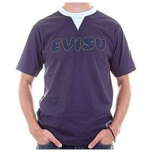 Evisu Ink Blue Regular Fit Short Sleeve Crew Neck Cotton T shirt With Denim Insert Design EVIS2262