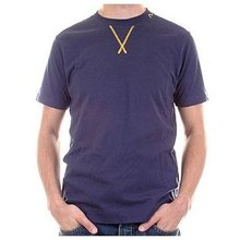 Evisu Mens Ink Blue Short Sleeve Crew Neck Archive Collection T-shirt with Gold Metallic Embroidery EVIS2209