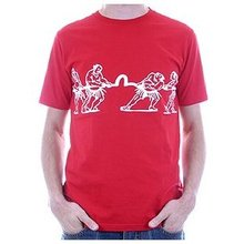 Evisu Mens Red Colour Regular Fit Short Sleeve Crew Neck T Shirt with Tug of War Print EVIS0776