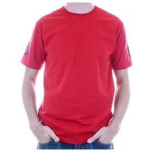 Evisu Regular Fit Short Sleeve EVISUMO LEAGUE Crew Neck T-shirt in Fire Red EVIS0791