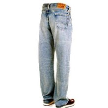 Sugar Cane Mens SC41945H Light Blue Hard Wash Vintage Cut African Cotton Selvedge Denim Jeans CANE5247