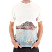 RMC Jeans Rare Short Sleeve Crew Neck Natural T Shirt with Toyo Story Old Japan Porter Print REDM5938