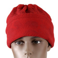 RMC Red Fleece Reversible Head and Neck Warmer Snood Scarf with Toggle and Pull Cord Closure REDM5490