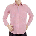 Yoropiko Red Soft Collar Long Sleeve Regular Fit Fine Check Shirt YORO5299