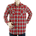 Yoropiko Mens Soft Collar Regular Fit Long Sleeve Western Red Check Shirt YORO5306