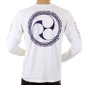 RMC Jeans Fuijin Mens Crew Neck Long Sleeve Regular Fit White T-shirt with Akasarugumi Print REDM5413