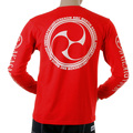 RMC Jeans Akasarugumi Fuijin Printed Regular Fit Long Sleeve Crew Neck Red T-shirt for Men REDM5412