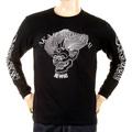 RMC Jeans Akasarugumi Fuijin Printed Crew Neck Long Sleeve Regular Fit Black T-shirt for Men REDM5410