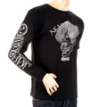 RMC Jeans Akasarugumi Fuijin Printed Crew Neck Long Sleeve Regular Fit Black T-shirt for Men REDM5410