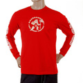 RMC Jeans MKWS Akasarugumi Kintaro Printed Long Sleeve Regular Fit Crew Neck T-Shirt in Red REDM5422