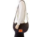 RMC Unisex Denim and Leather Shoulder Bag with Embroidered Tsunami Wave Denim Trim Handles REDM5528