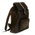 RMC Jeans Fully Lined Unisex Black Nylon Backpack with Leather Base and Trim REDM5532