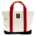 RMC MKWS Unisex Red Canvas Handles and Navy Canvas Base Equipped White Canvas Shopper Bag REDM5589
