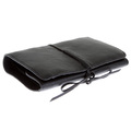 RMC Jeans Unisex Bill Fold Italian Leather Wallet in Black with shoe lace tie REDM5699