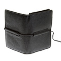 RMC Jeans Mens Italian Black Grain Leather Card Holder Wallet with Shoe Lace Tie REDM5708