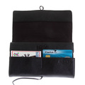RMC Jeans Unisex Grain Leather Travel Wallet in Black with Shoe Lace Tie Closure REDM5750