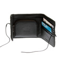 RMC Jeans Mens Black Leather Wallet with Horse Hair and Shoe Lace Tie Closure REDM5755
