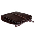 RMC Jeans Mens Brown Leather Horse Hair Wallet with Shoe Lace Tie Closure REDM5769