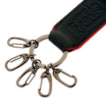 RMC Jeans Embossed Mens Black Leather Key Holder with Red Leather Trim REDM5518