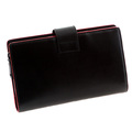 RMC Jeans Unisex Black Leather Large Travel Wallet with Red Leather Trim REDM5521