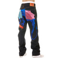 Yoropiko Super Exclusive Hungry Dragon 574 Sky Blue Royal Blue Pink Embroidered Dry Selvedge Denim Jeans YORO5419