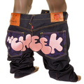 RMC Jeans Vintage Cut Dark Indigo Raw Denim DIZZEE RASCAL Tongue N Cheek Purple Embroidered Jeans REDM5658