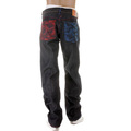 RMC Jeans Vintage Cut Dark Indigo Selvedge Raw Denim Mad Patch Scarlet and Sky Embroidered Jeans REDM3129
