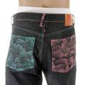 RMC Martin Ksohoh Lake Blue and Pink Embroidered Vintage Cut Dark Indigo Selvedge Raw Denim Jeans REDM3132
