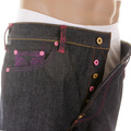 RMC Martin Ksohoh Vintage Cut Dark Indigo Raw Denim Jeans with Mad Patch Fuscia and Violet Embroidery REDM3142