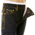 RMC Super Exclusive Gold Tsunami Wave Embroidered Dark Indigo Raw Selvedge Vintage Cut Denim Jeans REDM6215