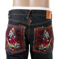 RMC Martin Ksohoh Vintage Cut Dark Indigo Selvedge Raw Denim Momotaro Embroidered Jeans for Men REDM5642