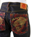 RMC Jeans Dark Indigo Akasarugumi Embroidered Vintage Cut 100% Cotton House Selvedge Raw Denim Jeans REDM5644