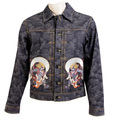 RMC Mens Vintage Cut Cotton Raw Selvedge Denim Jacket with Fujin and Raijin on Tsunami Wave Embroidery REDM3856