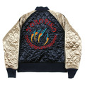Yoropiko x RMC Jeans Navy and Champagne Quilted Jacket with Embroidered Claw Hungry Dragon YORO2135