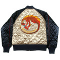 Yoropiko x RMC Jeans Champagne and Navy Quilted Souvenir Jacket with Embroidered Hungry Dragon YORO2135A