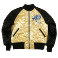 Yoropiko x RMC Jeans Fully Reversible Black and Gold Quilted Souvenir Jacket with Embroidered 4A Hero YORO2140A