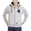 RMC MKWS Marl Grey Hooded Zipped Regular Fit Sweatshirt with Black Flock Print for Men REDM2343