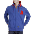 RMC MKWS Mens Hooded Zipped Regular Fit Sweatshirt with Red Flock Print in Royal Blue REDM2338