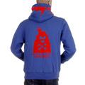 RMC MKWS Mens Hooded Zipped Regular Fit Sweatshirt with Red Flock Print in Royal Blue REDM2338