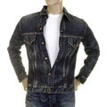 Sugarcane Mens SC11901H Dark Hard Wash Lone Star Denim Jacket with Aged and Worn Out Finish CANE2822