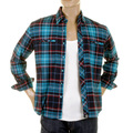 RMC Martin Ksohoh MKWS Mens Turquoise Check Button Down Collar Long Sleeve Regular Fit Shirt REDM2295