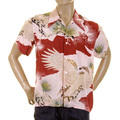 RMC Martin Ksohoh Mens Short Sleeve Regular Fit Pink Shirt with Japanese Eagle in Leaf Print REDM0916
